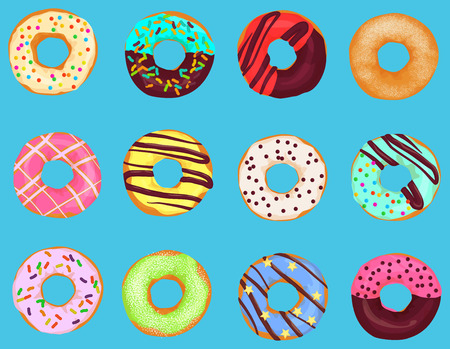 Illustration pour Set of cartoon doughnuts donut cake isolated on bright blue background. Pastry donuts menu - image libre de droit