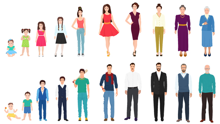 Illustration pour Different age generations of the male and female person. People age from kid to old. Aging concept from childhood to old age - image libre de droit