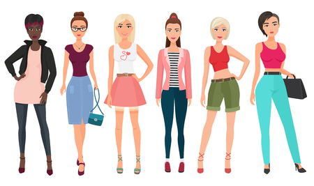 Ilustración de Casual fashion for beautiful female. - Imagen libre de derechos