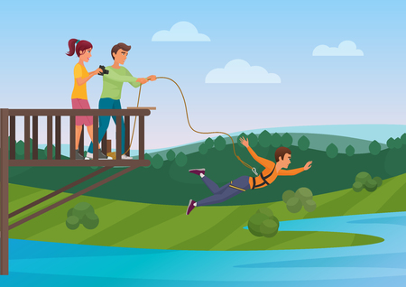 Illustration for Woman doing bungee jumping with the friends vector illustration. Bungee jumper. Extreme sport. - Royalty Free Image