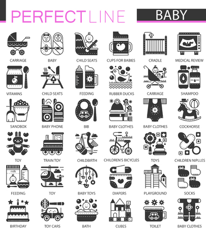 Illustration pour Baby classic black mini concept symbols. Baby modern icon illustrations set. - image libre de droit