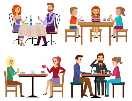 Ilustración de Eating people set. Couple friends family children and businessman sitting in restaurant cafe or bar isolated. Cartoon vector illustration. - Imagen libre de derechos