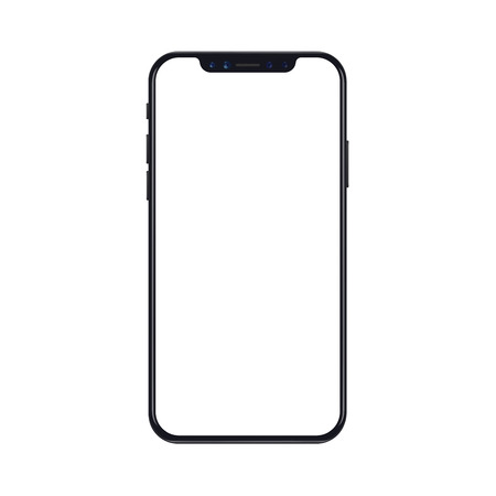Illustration pour Mobile smartphone phone mockup isolated on white background with blank screen. Realistic vector illustration. - image libre de droit