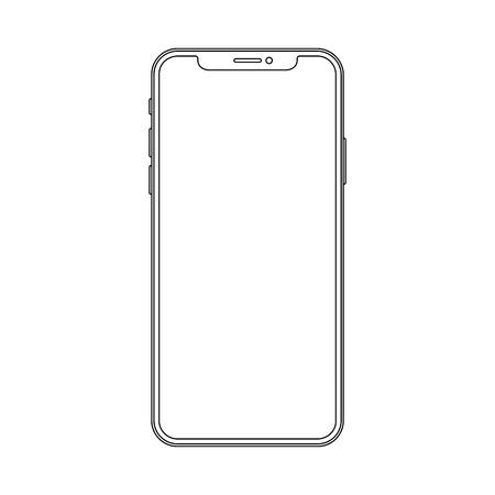 Illustration pour Outline line drawing modern cell phone - image libre de droit