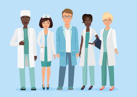 Illustration pour Vector Cartoon illustration of Hospital medical staff team, doctors and nurses characters. Medical concept. - image libre de droit