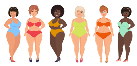 Illustrazione per Cartoon vector beautiful plus size curved women in underwear, bathing suit, female swimsuits. - Immagini Royalty Free