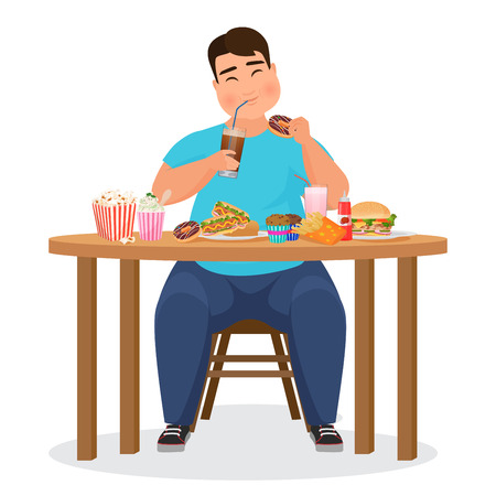 Illustrazione per Funny fat obese man eating hamburger fast food. Vector Illustration. - Immagini Royalty Free