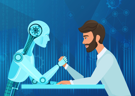 Illustrazione per Vector cartoon Human businessman office manager man vs robot artificial intelligence pulling rope competition. Near future battle. - Immagini Royalty Free