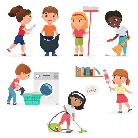 Illustration pour Vector Cartoon kids cleaning at home set. Children in various cleaning positions. - image libre de droit