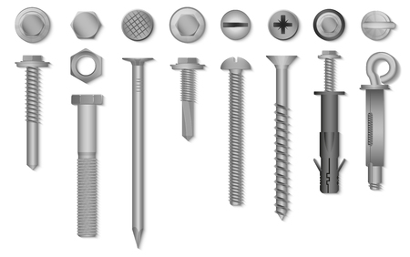 Illustration pour Realistic 3d vector screws, nuts, bolts, rivets and nails for fastening and fixing. - image libre de droit