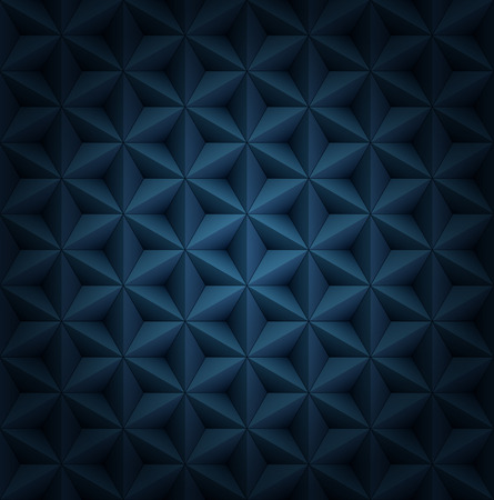 Ilustración de Volumetric polygonal star tiles dark blue luxury pattern with vignette. - Imagen libre de derechos