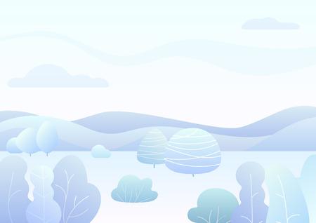 Illustration pour Fantasy simple winter forest landscape with cartoon curved trees, bushes trendy gradient color vector illustration - image libre de droit