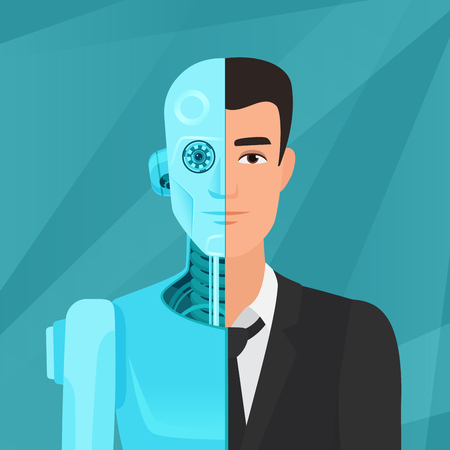 Photo pour Half cyborg, half human man businessman in suit vector illustration. - image libre de droit