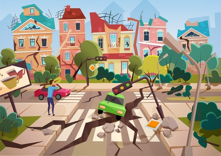 Illustration for Earthquake Disaster with realistic ground crevices and small destroyed town houses vector illustration design - Royalty Free Image