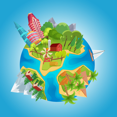 Illustration pour Cartoon cute planet concept. Planet globe with city buildings, farm windmills, mountains, ocean, houses and desert pyramids vector Illustration - image libre de droit