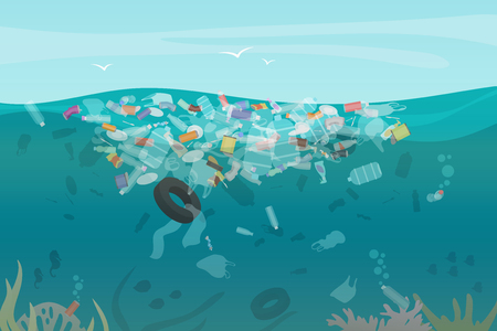 Illustrazione per Plastic pollution trash underwater sea with different kinds of garbage - plastic bottles, bags, wastes floating in water. Sea ocean water pollution concept vector illustration - Immagini Royalty Free