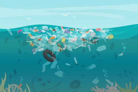 Ilustración de Plastic pollution trash underwater sea with different kinds of garbage - plastic bottles, bags, wastes floating in water. Sea ocean water pollution concept vector illustration - Imagen libre de derechos
