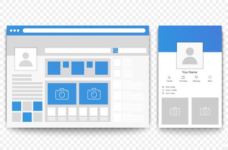 Illustration pour Social network web and mobile page browser. Concept of Social page interface vector illustration. - image libre de droit