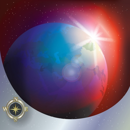 abstract illustration with compass and globe in the space