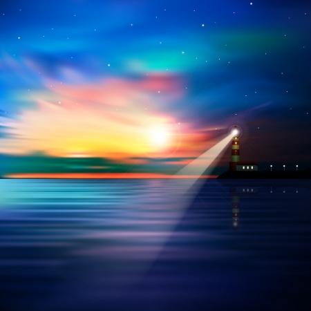 Ilustración de abstract blue background with lighthouse stars and sunrise - Imagen libre de derechos