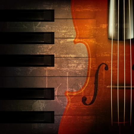 Illustration for abstract brown grunge music background with violin - Royalty Free Image