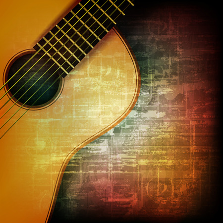 Illustration pour abstract music grunge vintage background with acoustic guitar - image libre de droit