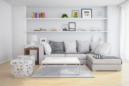 Photo for Interior of a living room with shelves and sofa with pillows. - Royalty Free Image