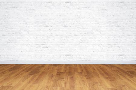 Photo pour Empty white bricks room with wooden floor - image libre de droit