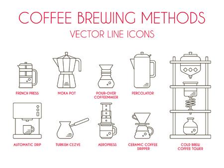 Ilustración de Coffee brewing methods, vector thin line icon set. - Imagen libre de derechos