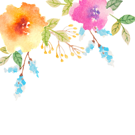 Illustration pour Invitation card for wedding with watercolor flowers - image libre de droit