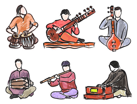 Illustration for vector set of indian musician playing traditional musical instruments - Royalty Free Image