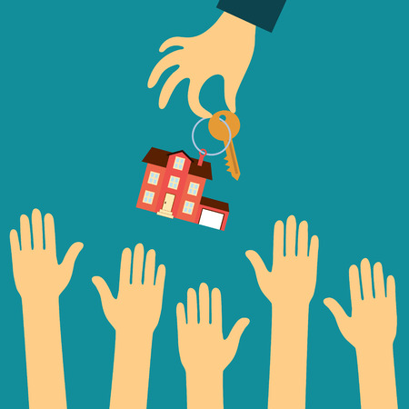 Illustration for Vector real estate concept in flat style - hand real estate agent holding holds a key with a tag in the form of homes, and buyers are pulling your hands. Demand and supply - Royalty Free Image