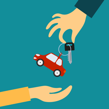 Ilustración de Vector concept in flat style - the hand of the seller holds out a key with a tag in the form of car in hand for the buyer. Demand and supply - Imagen libre de derechos