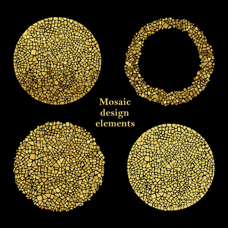 Illustration for Set of Gold Mosaic design elements in circle forms. - Royalty Free Image