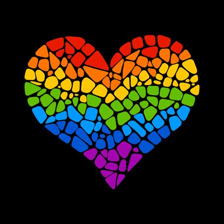 Ilustración de Mosaic rainbow heart on black background. Rainbow heart icon. Rainbow heart LGBT . LGBT symbol. Gay culture sign. Gay pride design element. Isolated mosaic rainbow heart. - Imagen libre de derechos