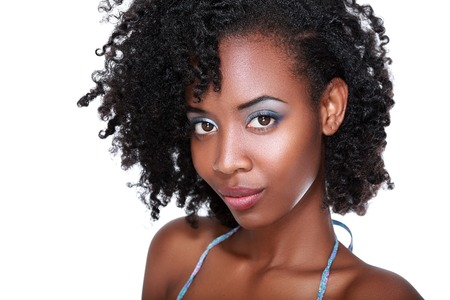 Photo for Beautiful black woman face with perfect make up over white - Royalty Free Image