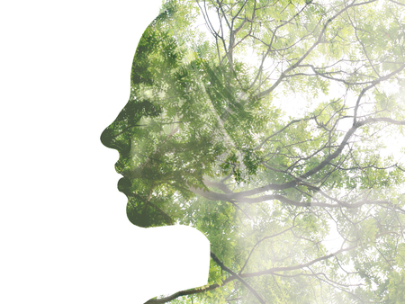 Photo for Double exposure portrait of attractive lady combined with photograph of tree. Be creative! - Royalty Free Image
