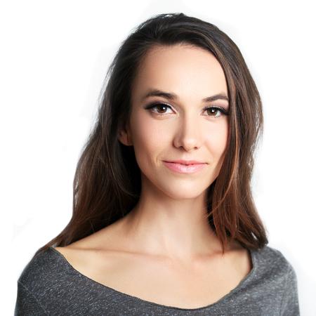 Photo for beautiful woman headshot over white background - Royalty Free Image