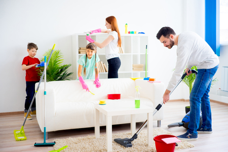 Photo for Family cleaning house - Royalty Free Image