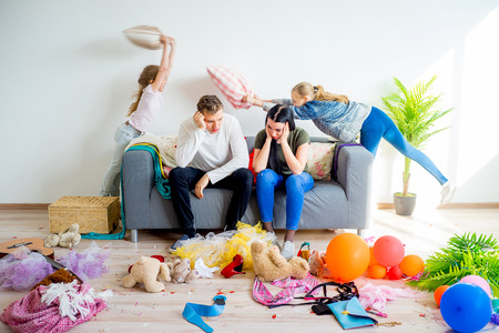 Photo for Kids romping at home - Royalty Free Image