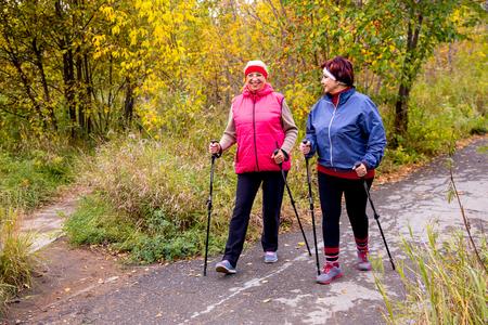 Photo pour Senior ladies nordic walking - image libre de droit