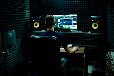 Photo for A portrait of a musician in a recording studio - Royalty Free Image