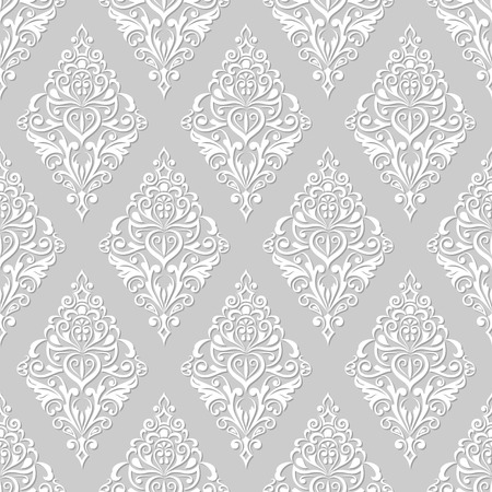 Illustration pour Seamless white and grey floral vintage wallpaper pattern. - image libre de droit