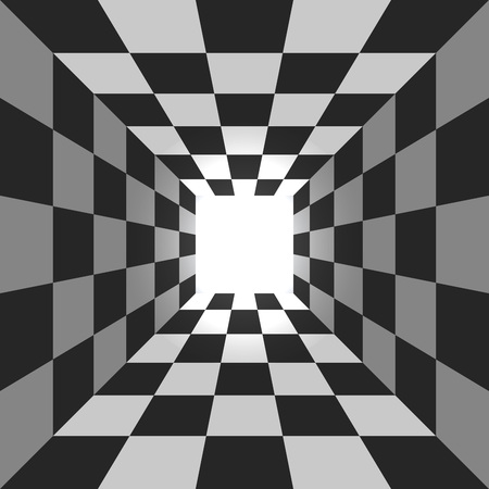 Illustration pour Abstract square checkered tunnel vector background. - image libre de droit