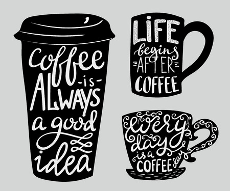 Ilustración de Modern calligraphy style quote about coffee. - Imagen libre de derechos
