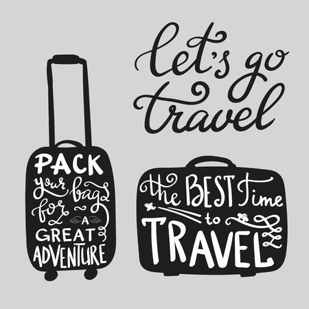 Foto de Travel inspiration quotes on suitcase silhouette - Imagen libre de derechos