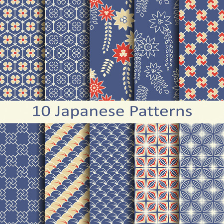 Photo for set of ten japanese patterns - Royalty Free Image