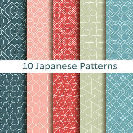 Illustration for set of ten japanese patterns - Royalty Free Image