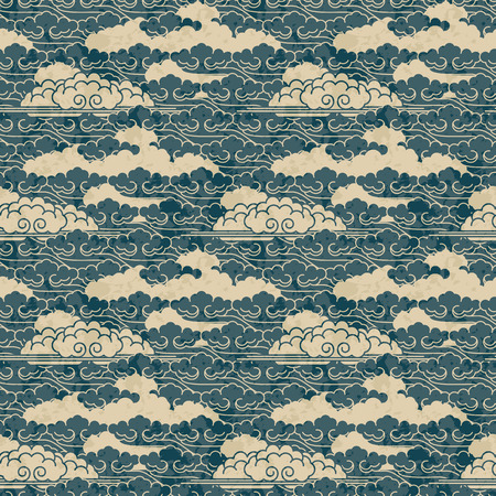 Illustration pour seamless hand drawn traditional japanese cloud pattern - image libre de droit