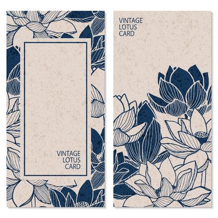 Ilustración de set with two vector blue vintage cards with hand drawn lotus flowers and place for text - Imagen libre de derechos